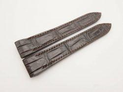 20mm Dark Brown Genuine Crocodile Skin Leather Watch Strap for Cartier Santos #WT2946