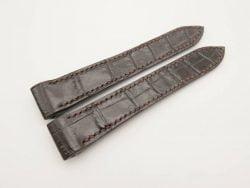 20mm Dark Brown Genuine Crocodile Skin Leather Watch Strap for Cartier Santos #WT2947