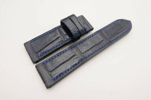 24mm/22mm Dark Navy Blue Genuine CROCODILE Skin Leather Watch Strap for Panerai #WT2966