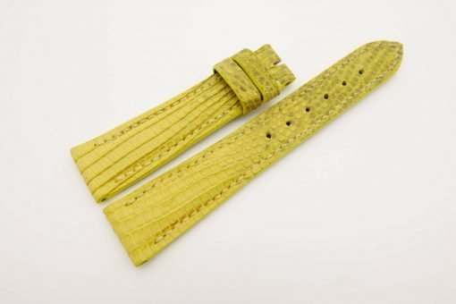 19mm/16mm Yellow Genuine LIZARD Skin Leather Stonewash Watch Strap #WT2994