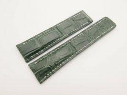 22mm/20mm Dark Green Genuine Crocodile Skin Deployment strap for Breitling #WT3026