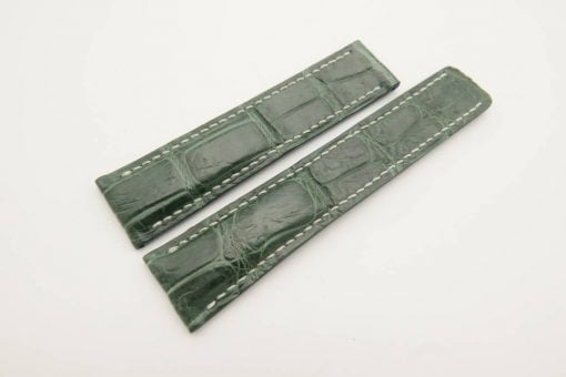 22mm/20mm Dark Green Genuine Crocodile Skin Deployment strap for Breitling #WT3026