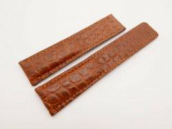 22mm/20mm Brown Genuine Crocodile Skin Deployment strap for Breitling #WT3030