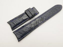 21mm/18mm Dark Navy Blue Genuine Ostrich Skin Leather Curved End Watch Strap For JLC #WT3051