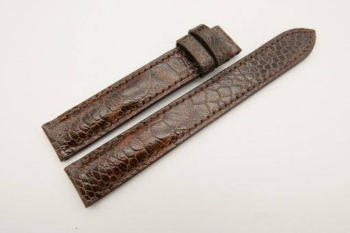 16mm/16mm Brown Genuine Ostrich Skin Leather Watch Strap 120/85mm #WT3058