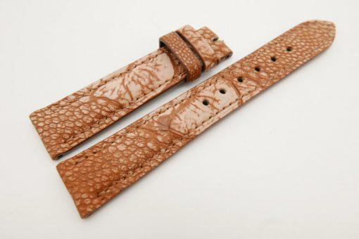 18mm/16mm Cognac Genuine Ostrich Skin Leather Watch Strap Stone wash #WT3070