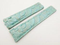 22mm/18mm Baby Blue Genuine Python Skin Deployment Strap for TAG HEUER 105/85mm #WT3139