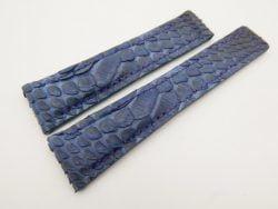 22mm/18mm Dark Navy Blue Genuine Python Skin Deployment Strap for TAG HEUER 105/85mm #WT3140