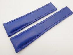 22mm/18mm Blue Genuine Vegtan CALF Skin Deployment strap for Breitling #WT3142