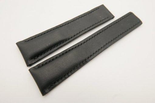 22mm/18mm Black Genuine Vegtan CALF Skin Deployment strap for Breitling #WT3144