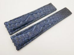 22mm/18mm Dark navy Blue Genuine Python Skin Deployment strap for Breitling #WT3150