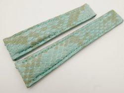 22mm/18mm Baby Blue Genuine Python Skin Deployment strap for Breitling #WT3152