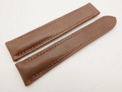 20mm/18mm Brown Genuine Vegtan CALF Skin Leather Deployment Strap for OMEGA 110/100mm #WT3157