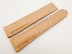 20mm/18mm Beige Genuine Vegtan CALF Skin Leather Deployment Strap for OMEGA 110/100mm #WT3156