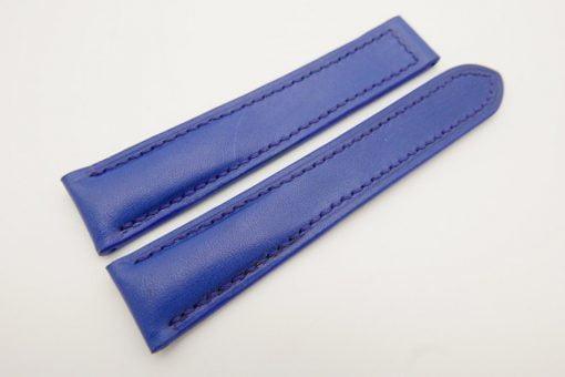 20mm/18mm Blue Genuine Vegtan CALF Skin Leather Deployment Strap for OMEGA 110/100mm #WT3155
