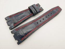 28mm/20mm Dark Navy Blue Genuine Crocodile Skin Leather Watch Strap for Audemars Piguet 42mm #WT3165