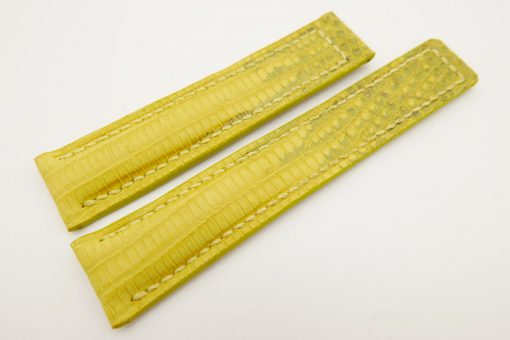 19mm/18mm Yellow Genuine LIZARD Skin Leather Deployment Strap for TAG HEUER #WT3207