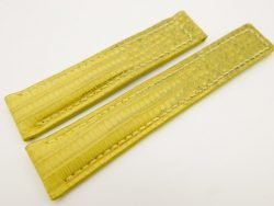 19mm/18mm Yellow Genuine LIZARD Skin Leather Deployment Strap for TAG HEUER #WT3208