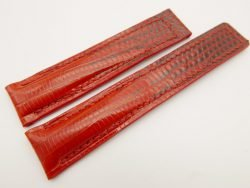 19mm/18mm Red Genuine LIZARD Skin Leather Deployment Strap for TAG HEUER #WT3209