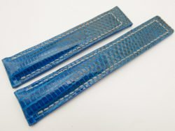 19mm/18mm Blue Genuine LIZARD Skin Leather Deployment Strap for TAG HEUER #WT3210