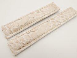 19mm/18mm Cream Genuine PYTHON Skin Leather Deployment Strap for TAG HEUER #WT3212