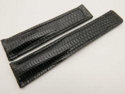 20mm/18mm Black Genuine LIZARD Skin Leather Deployment Strap for Tag Heuer #WT3221