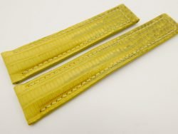 20mm/18mm Yellow Genuine LIZARD Skin Leather Deployment Strap for Tag Heuer #WT3223