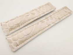 20mm/18mm Cream Genuine PYTHON Skin Leather Deployment Strap for Tag Heuer #WT3227