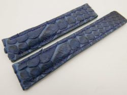 20mm/18mm Dark Navy Blue Genuine PYTHON Skin Leather Deployment Strap for Tag Heuer #WT3228