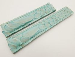 20mm/18mm Baby Blue Genuine PYTHON Skin Leather Deployment Strap for Tag Heuer #WT3229