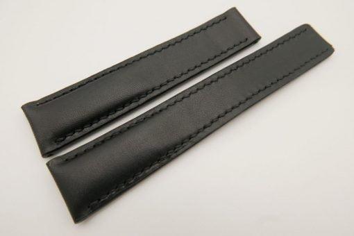 20mm/18mm Black Genuine Vegtan CALF Skin Deployment strap for Breitling #WT3240