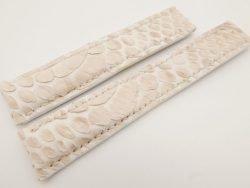 20mm/18mm Cream Genuine PYTHON Skin Deployment strap for Breitling #WT3248