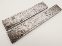 20mm/18mm White Genuine PYTHON Skin Deployment strap for Breitling #WT3249