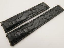 20mm/18mm Black Genuine PYTHON Skin Deployment strap for Breitling #WT3251