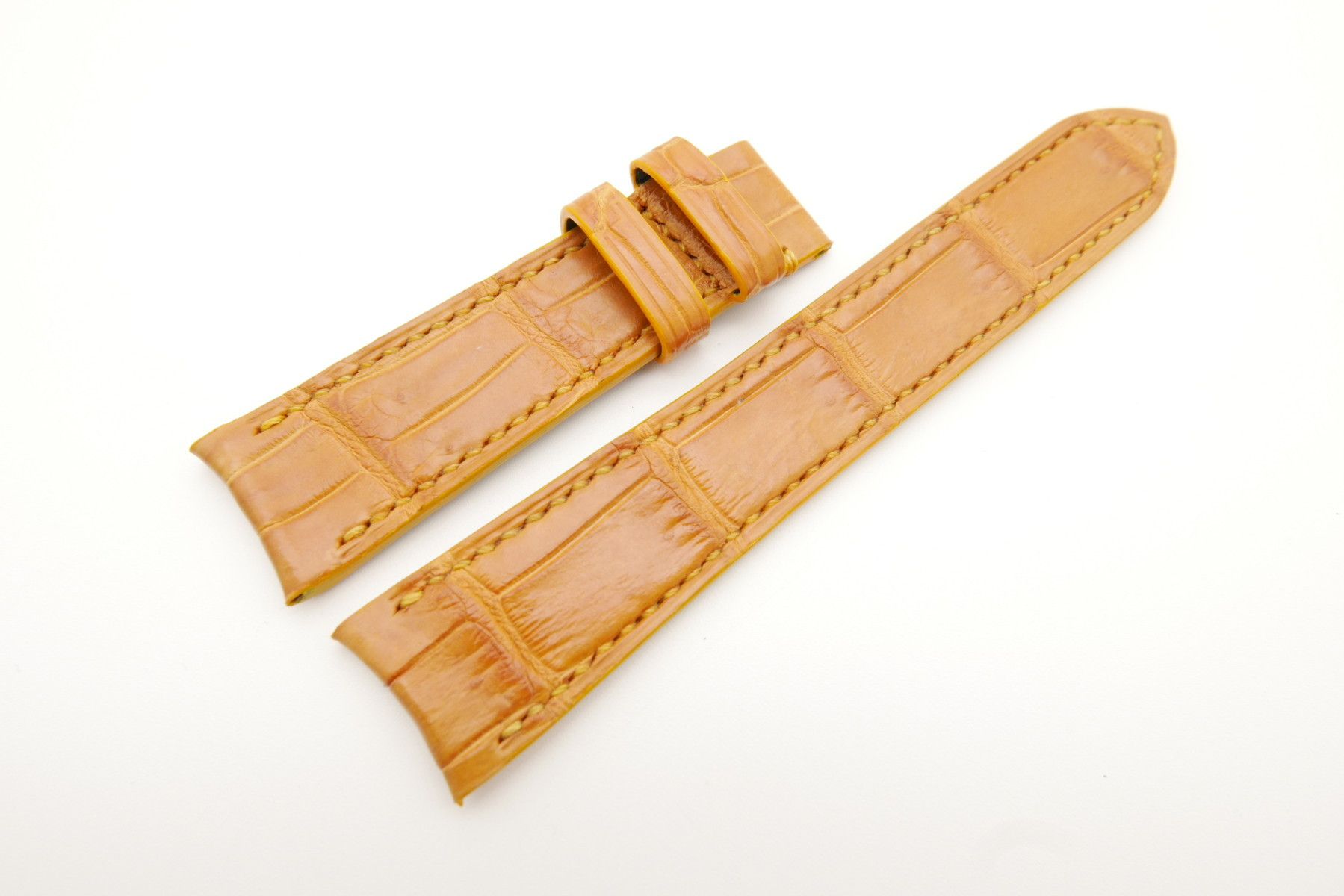 21mm/18mm Tan Brown Genuine Crocodile Skin Leather Curved End Watch Strap For JLC #WT3469