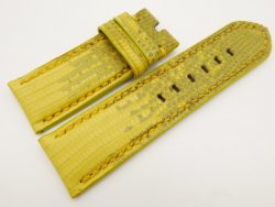 26mm/26mm Yellow Genuine Lizard Skin Leather Watch Strap Stonewash for PANERAI #WT3268