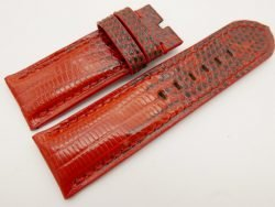 26mm/26mm Red Genuine Lizard Skin Leather Watch Strap for PANERAI #WT3270
