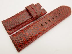 26mm/26mm Red Genuine Lizard Skin Leather Watch Strap for PANERAI #WT3271