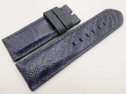 26mm/26mm Dark Navy Blue Genuine Ostrich Skin Leather Watch Strap for PANERAI #WT3274