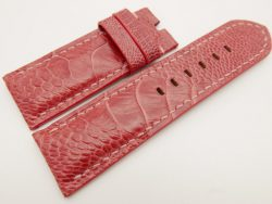 26mm/26mm Red Prune Genuine Ostrich Skin Leather Watch Strap for PANERAI #WT3278