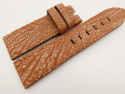 24mm/22mm Light Brown Genuine OSTRICH Skin Leather Watch Strap Stonewash for Panerai #WT3302