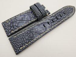 24mm/22mm Navy Blue Genuine OSTRICH Skin Leather Watch Strap Stonewash for Panerai #WT3307