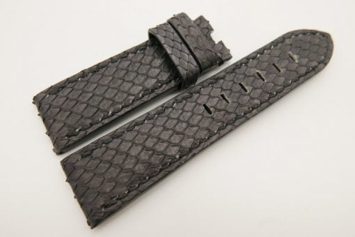 24mm/22mm Black Genuine PYTHON Skin Leather Watch Strap for Panerai #WT3318