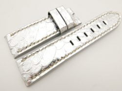 24mm/22mm Silver Genuine PYTHON Skin Leather Watch Strap for Panerai #WT3325