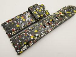 24mm/22mm Black Genuine PYTHON Skin Leather Watch Strap for Panerai #WT3326