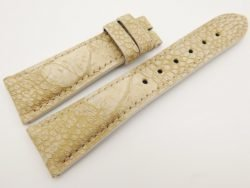 23mm/18mm Beige Genuine OSTRICH Skin Leather Watch Strap #WT3329