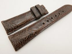 23mm/18mm Dark Brown Genuine OSTRICH Skin Leather Watch Strap #WT3332