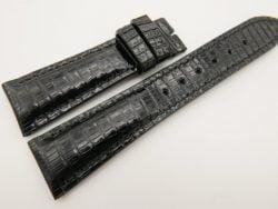 23mm/18mm Black Genuine LIZARD Skin Leather Watch Strap #WT3334