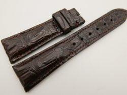 23mm/18mm Dark Brown Genuine CROCODILE Skin Leather Watch Strap #WT3346