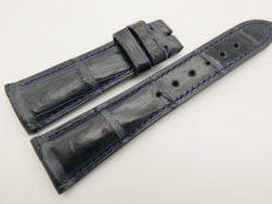 23mm/18mm Dark Navy Blue Genuine CROCODILE Skin Leather Watch Strap #WT3351